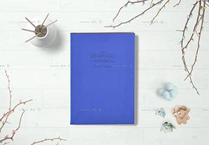 竖12寸深蓝皮册(夹芯白卡对裱)24P