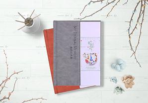 竖12寸典雅皮册(夹芯白卡对裱)24P(红棕/灰)